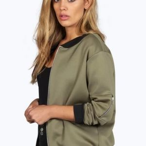 Boohoo Plus Army Green MA1 Bomber Jacket 14